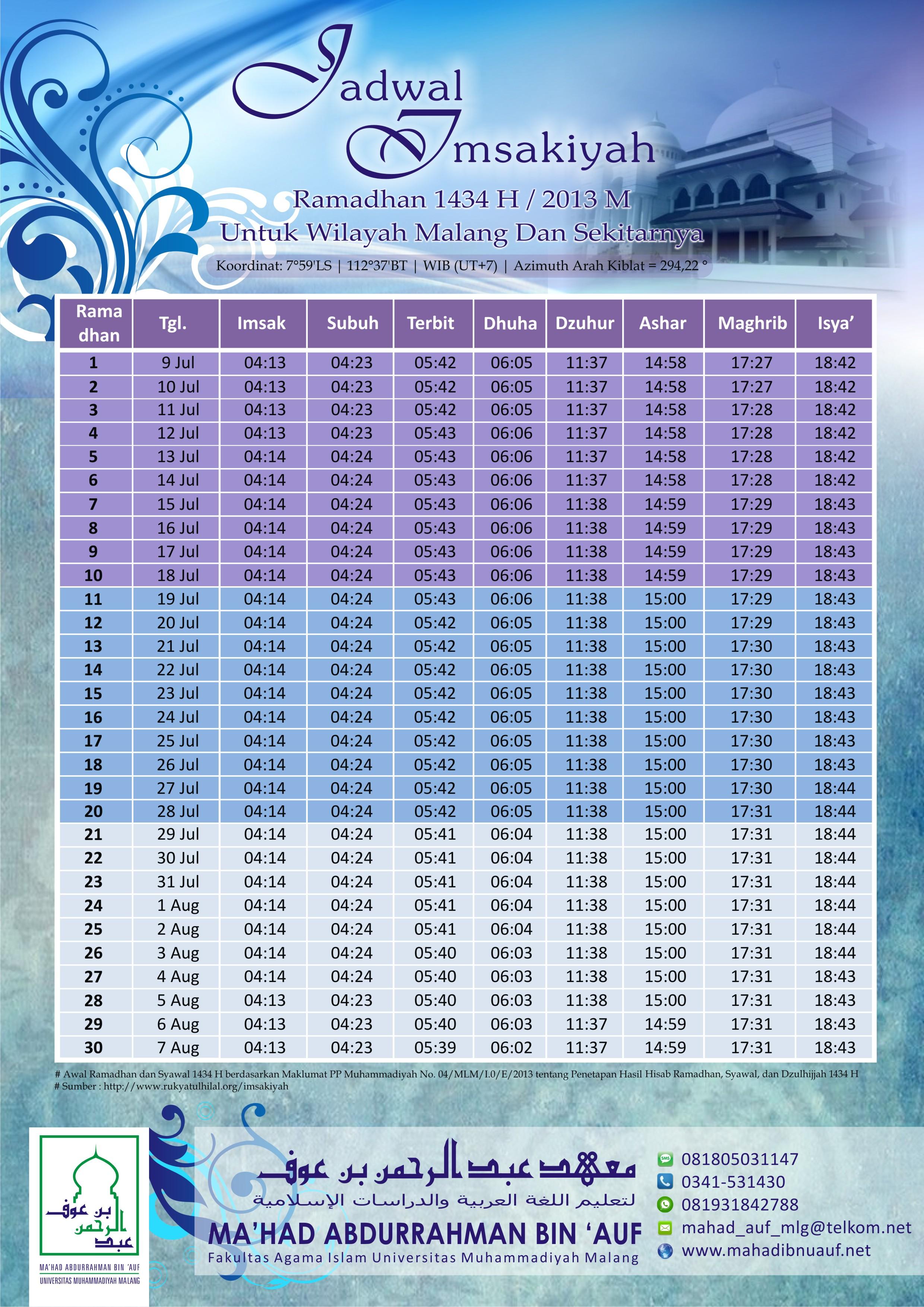 Jadwal Imsakiyah Ramadhan 1434 H